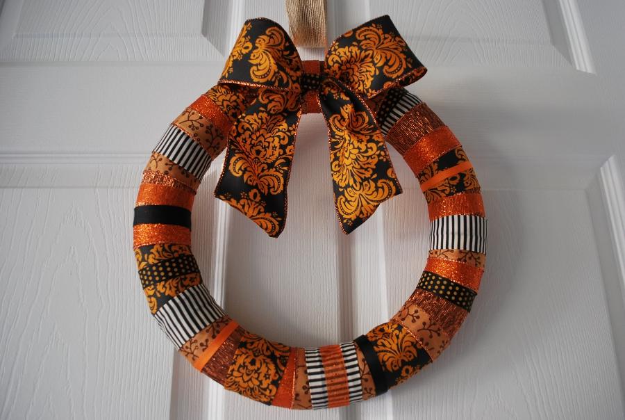 Halloween Ribbon Wreath Easy And Cheap Halloween Decoration